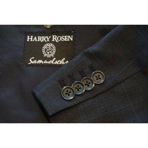 Samuelsohn SB James Blue Windowpane S120 Wool coat
